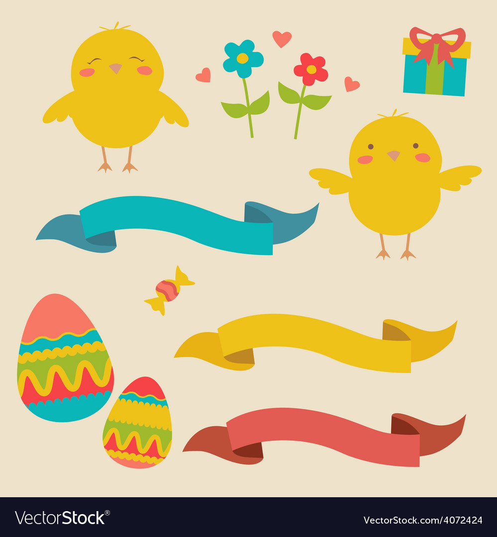 Easter designs with cute chickens vector | Price: 1 Credit (USD $1)