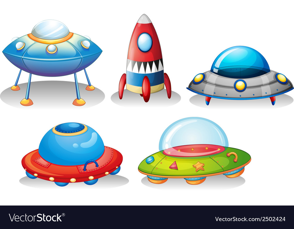 Flying saucers and a rocket vector | Price: 1 Credit (USD $1)