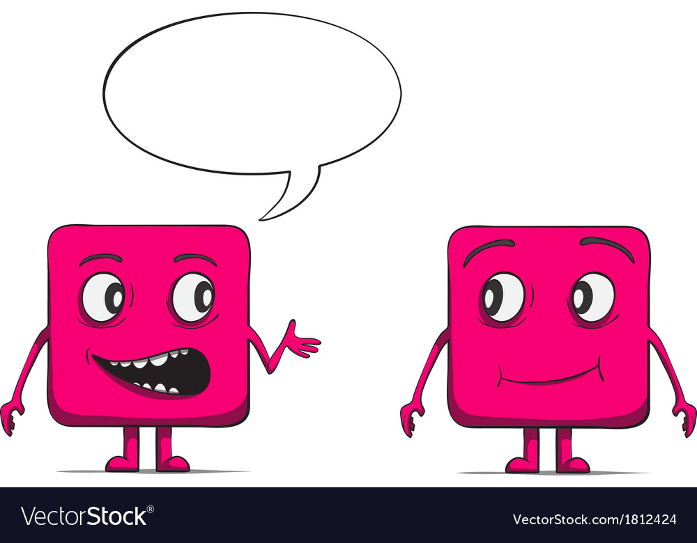 Funny cube dudes talking square characters vector | Price: 1 Credit (USD $1)