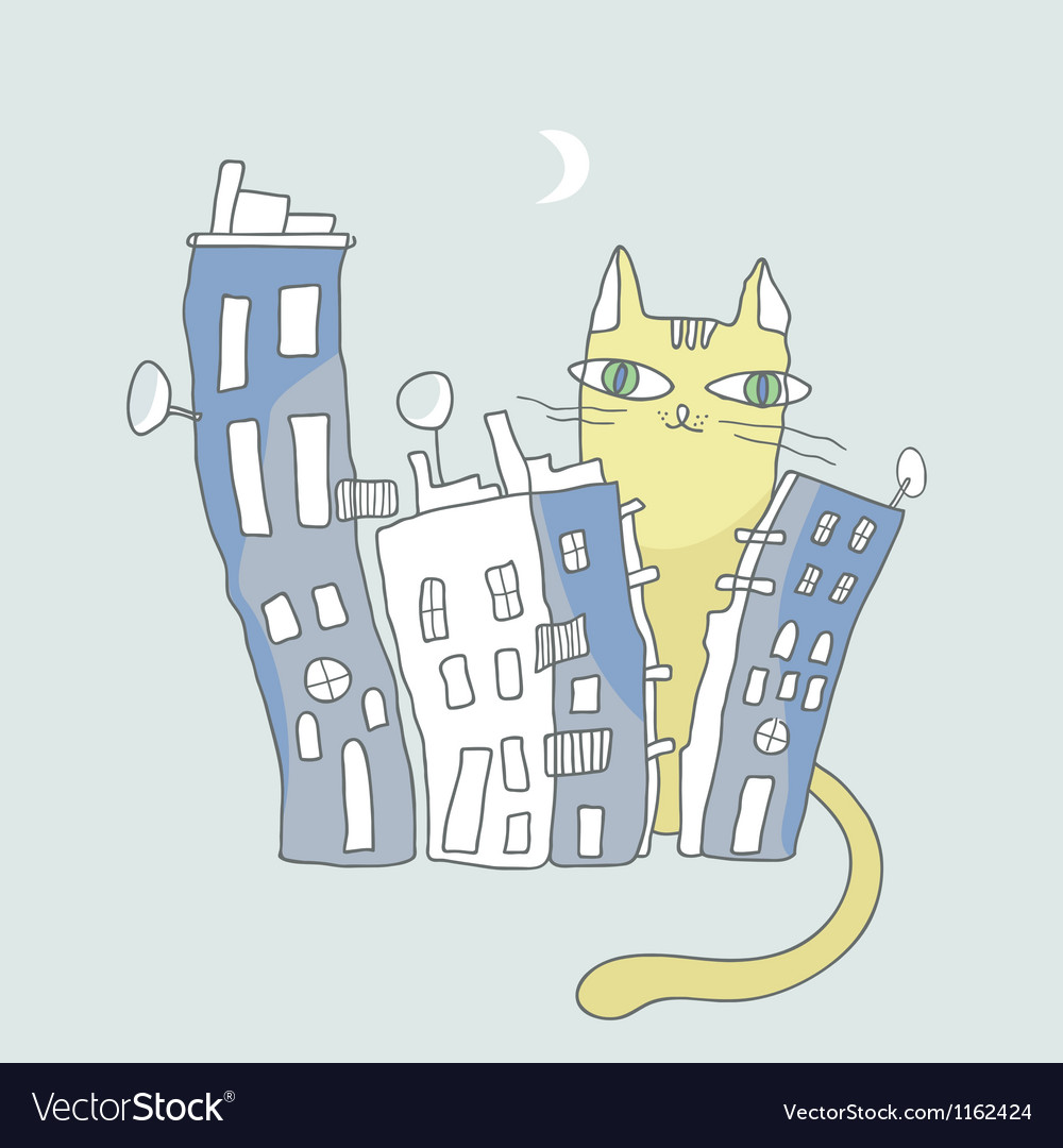 Giant cat watching over city condos vector | Price: 1 Credit (USD $1)