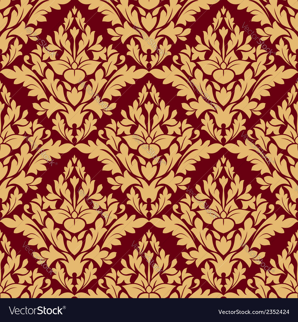 Maroon and orange damask seamless pattern vector | Price: 1 Credit (USD $1)