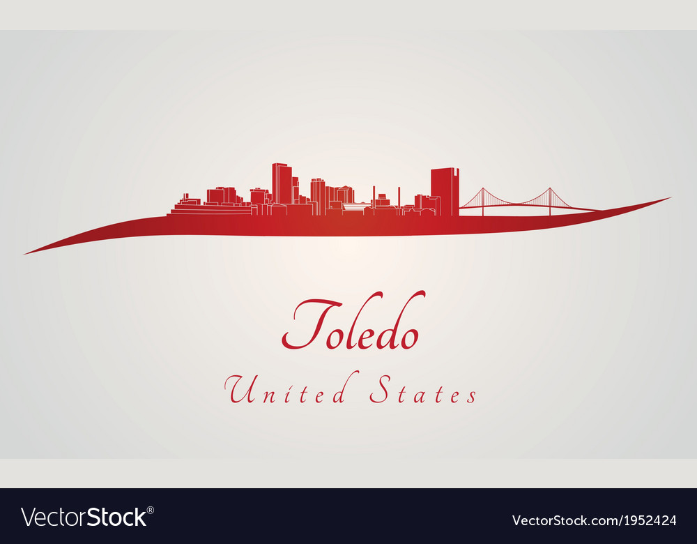 Toledo oh skyline in red vector | Price: 1 Credit (USD $1)
