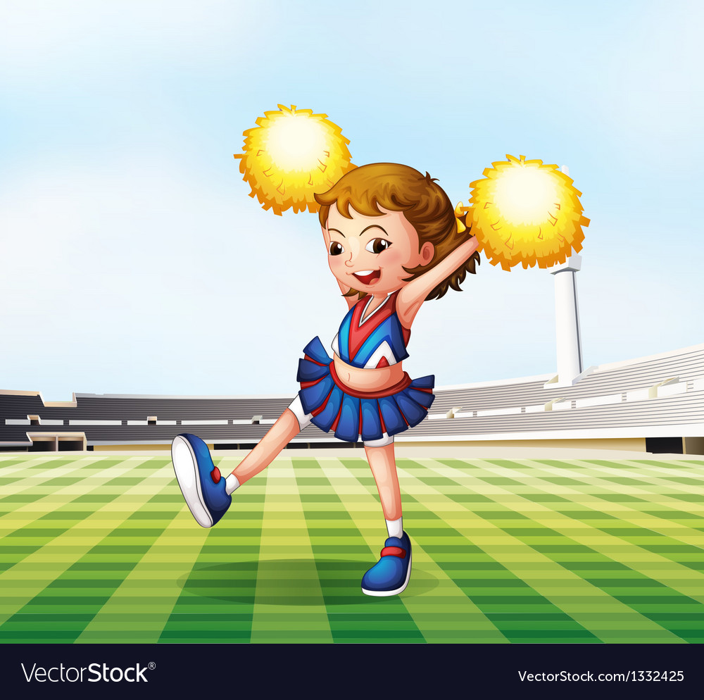 A soccer field with a cheerdancer vector | Price: 1 Credit (USD $1)