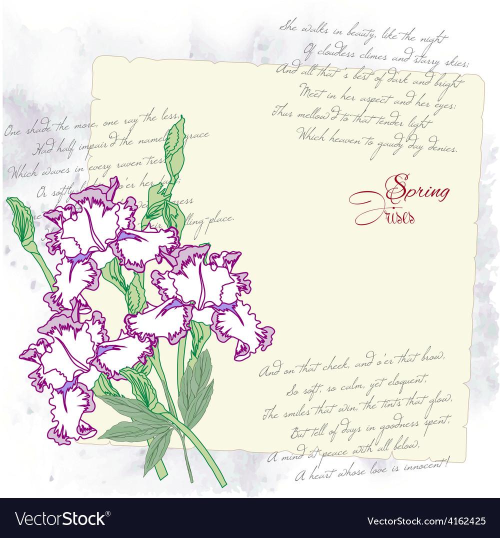 Background with irises vector   Price: 1 Credit (USD $1)