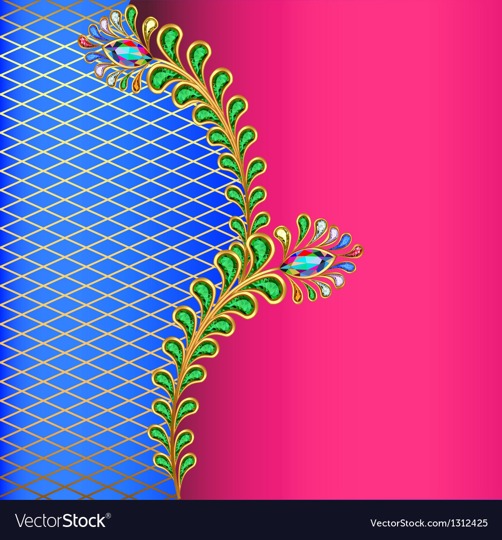 Background with peacock feather jewelery and net vector | Price: 1 Credit (USD $1)
