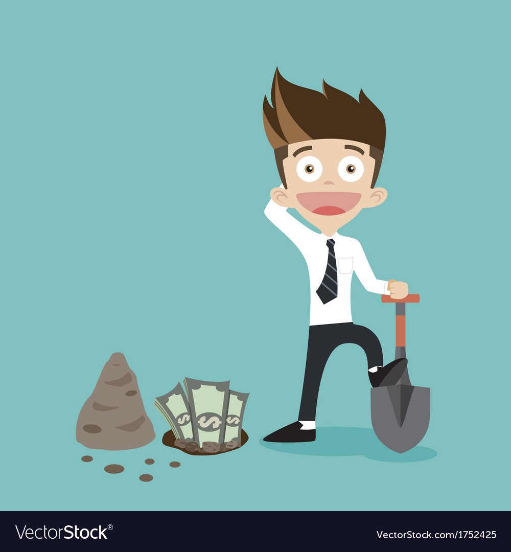 Businessman dig some money vector | Price: 1 Credit (USD $1)
