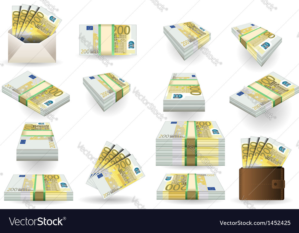 Full set of two hundred euros banknotes vector | Price: 1 Credit (USD $1)