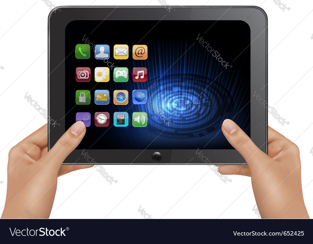 Hands holding digital tablet vector | Price: 1 Credit (USD $1)
