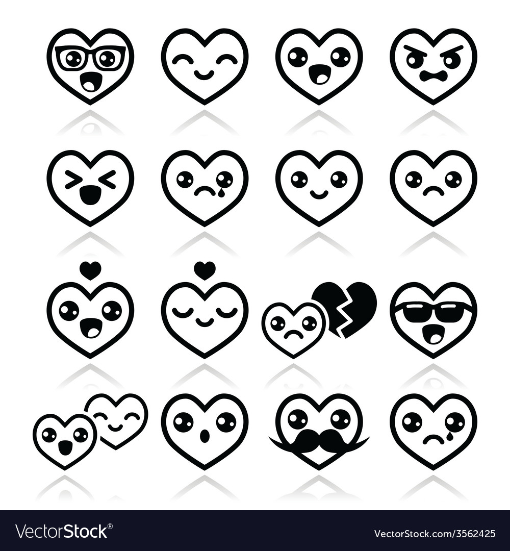 Kawaii hearts valentines day cute icons vector | Price: 1 Credit (USD $1)