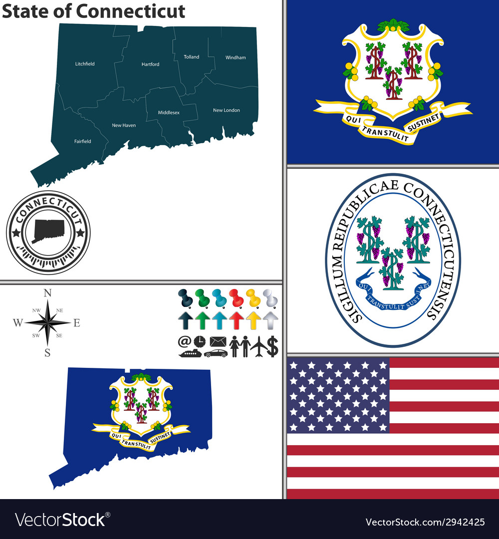 Map of connecticut with seal vector | Price: 1 Credit (USD $1)