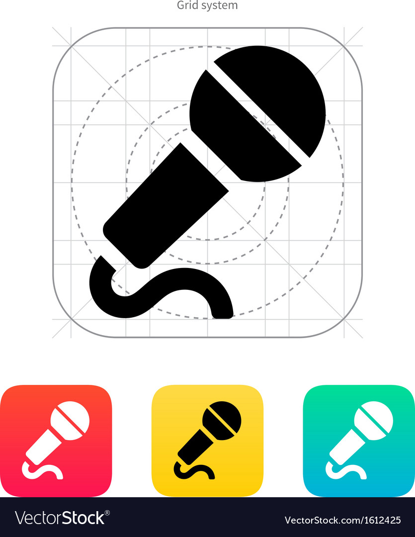 Microphone with cable icon vector | Price: 1 Credit (USD $1)