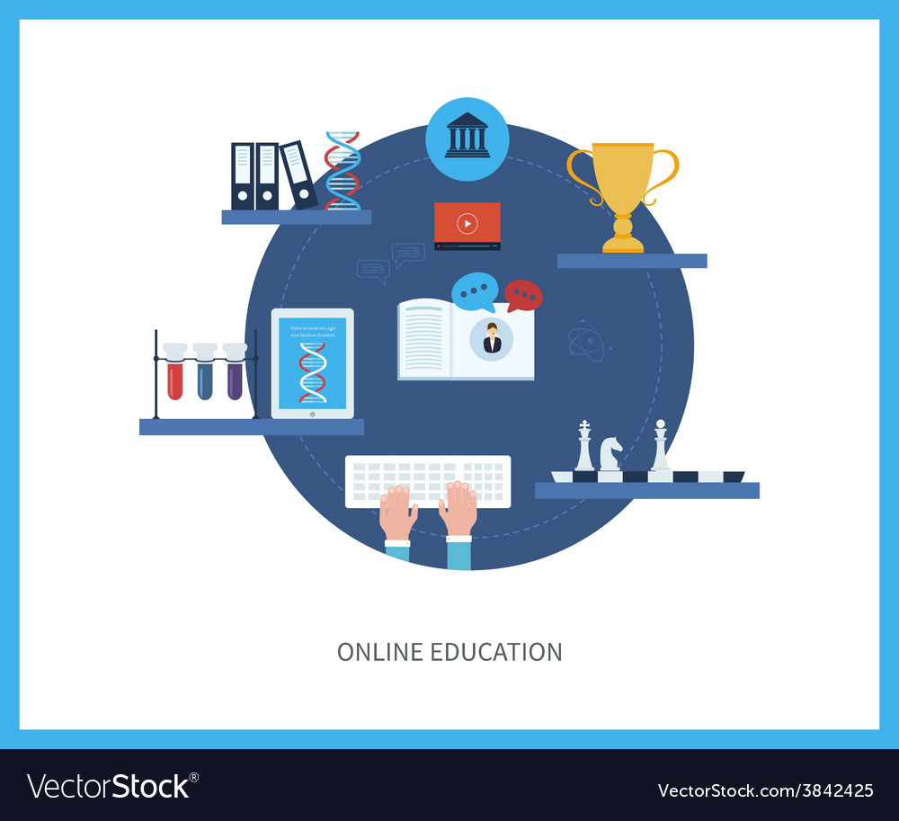 Online education and courses vector   Price: 1 Credit (USD $1)
