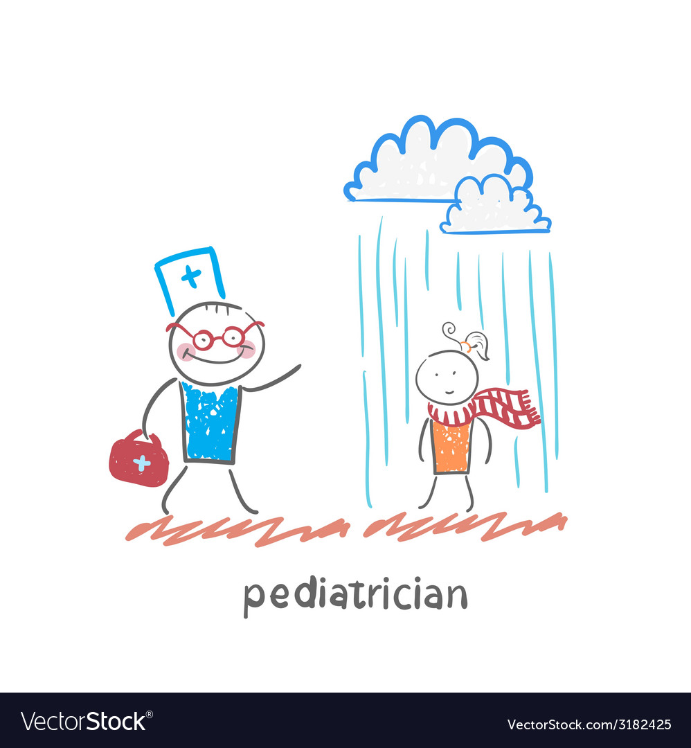 Pediatrician talking to a sick child in the rain vector | Price: 1 Credit (USD $1)