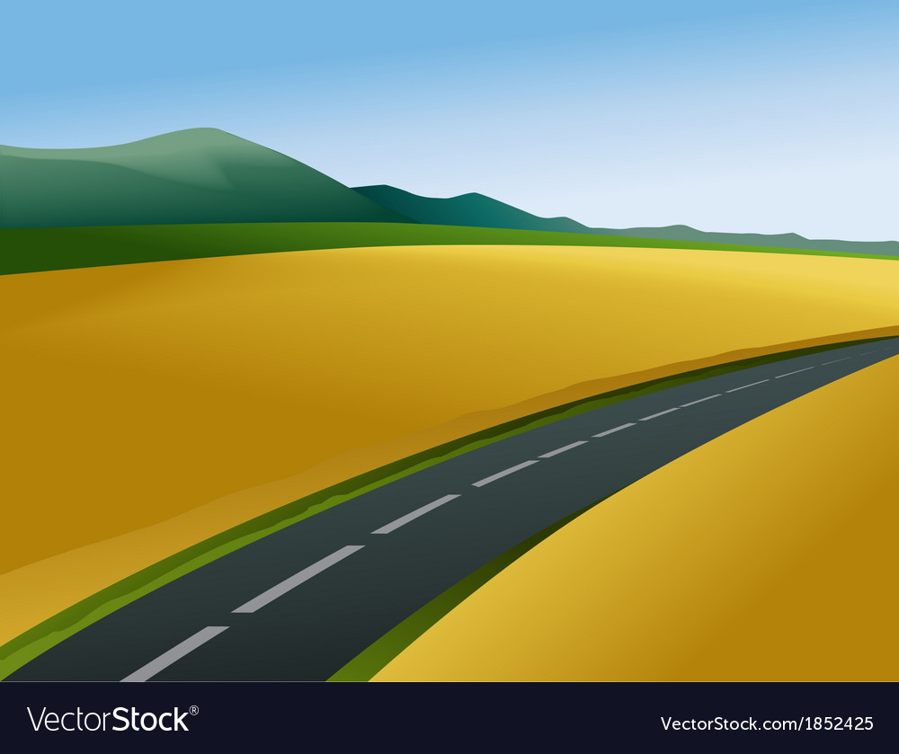 Rural landscape with road vector | Price: 1 Credit (USD $1)