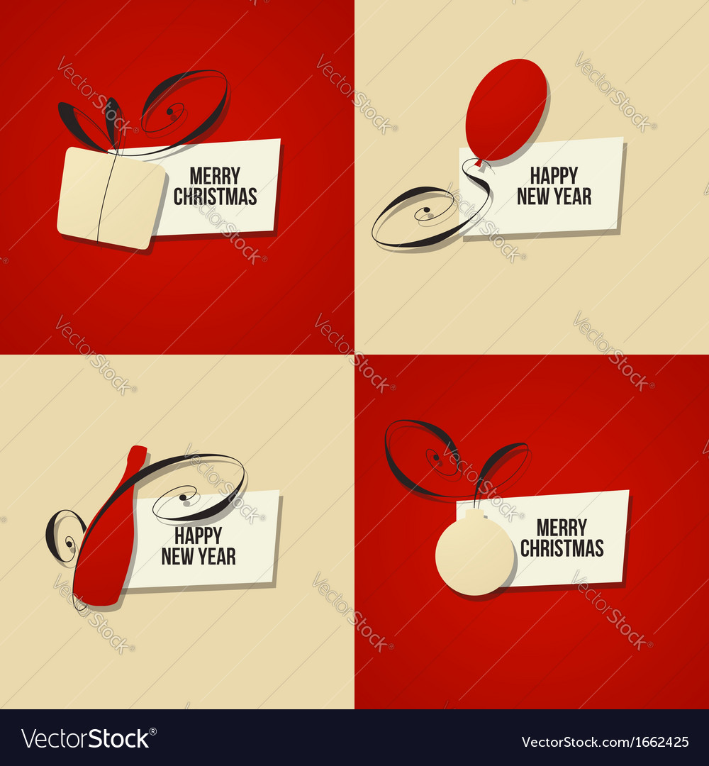 Set of christmas and new year greeting cards vector | Price: 1 Credit (USD $1)