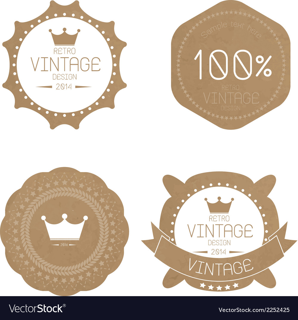 Set of grunge paper texture retro vintage badges vector | Price: 1 Credit (USD $1)