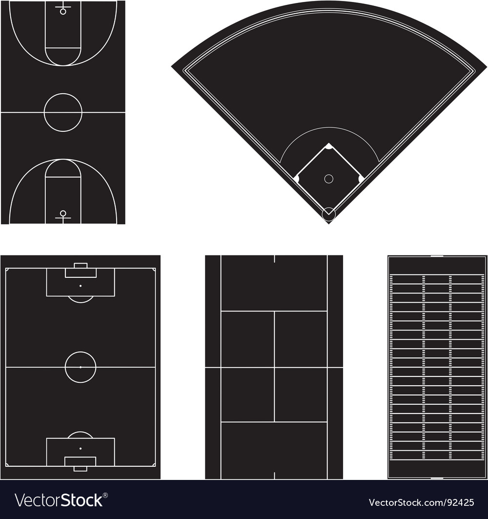 Sport field layouts in black vector | Price: 1 Credit (USD $1)