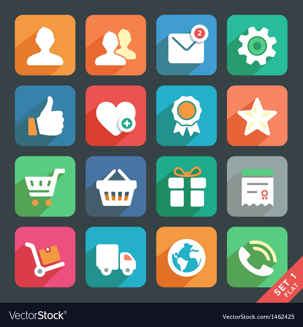 Universal flat icons set for web and mobile app vector | Price: 1 Credit (USD $1)
