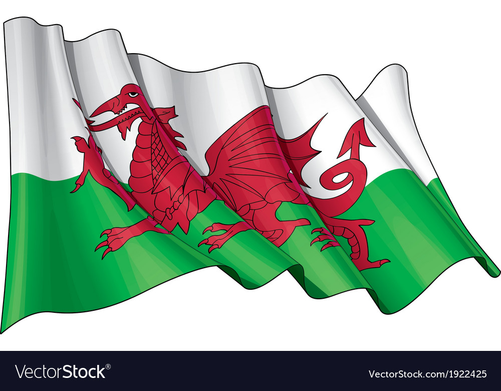 Wales flag vector | Price: 1 Credit (USD $1)