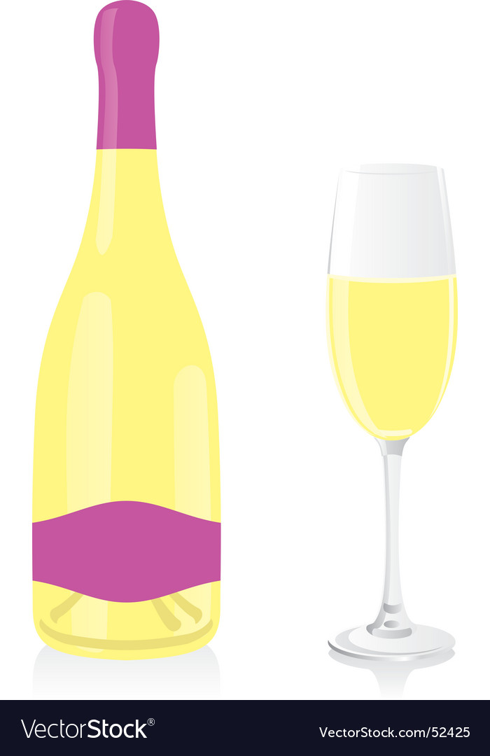 White champagne bottle and glass vector | Price: 1 Credit (USD $1)
