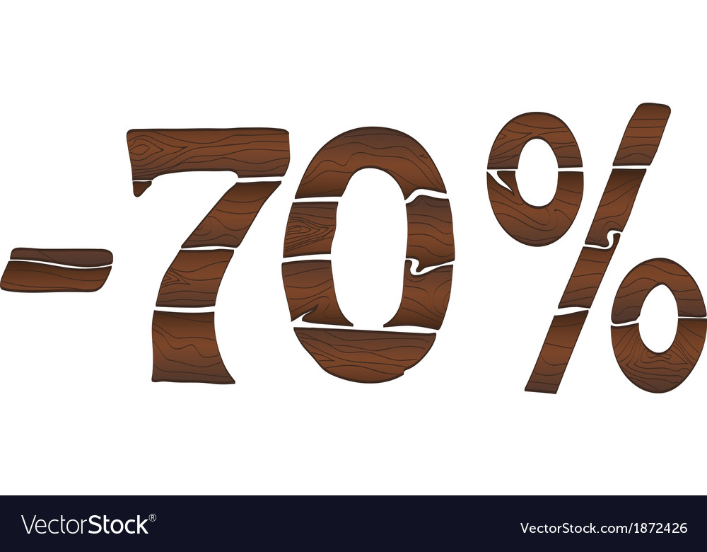 70 wood percentage icon - isolated on the white vector | Price: 1 Credit (USD $1)