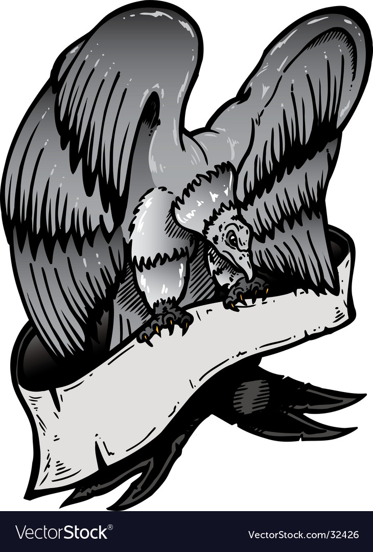 American eagle with banner illustratio vector | Price: 1 Credit (USD $1)
