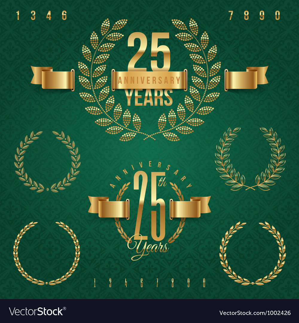 Anniversary golden emblems and decorative elements vector | Price: 1 Credit (USD $1)
