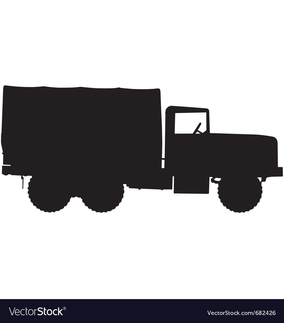 Army truck silhouette vector | Price: 1 Credit (USD $1)