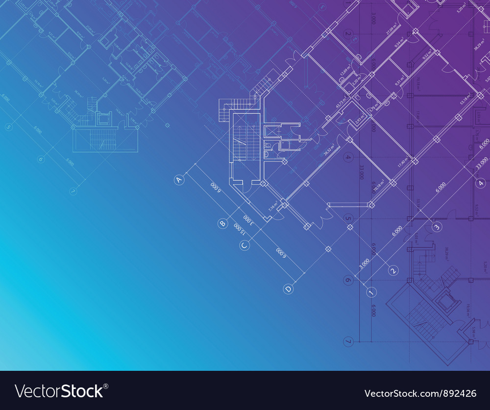 Blue architectural background horisontal vector | Price: 1 Credit (USD $1)