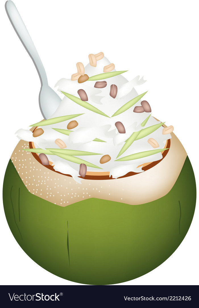 Coconut ice cream with nuts and green rice noodles vector | Price: 1 Credit (USD $1)