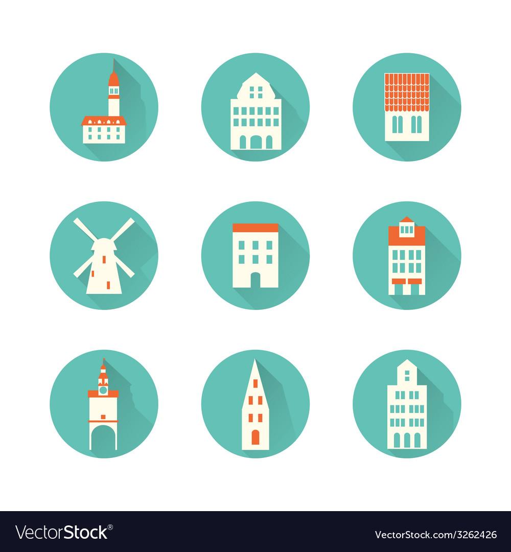 Europe hous city icon vector | Price: 1 Credit (USD $1)