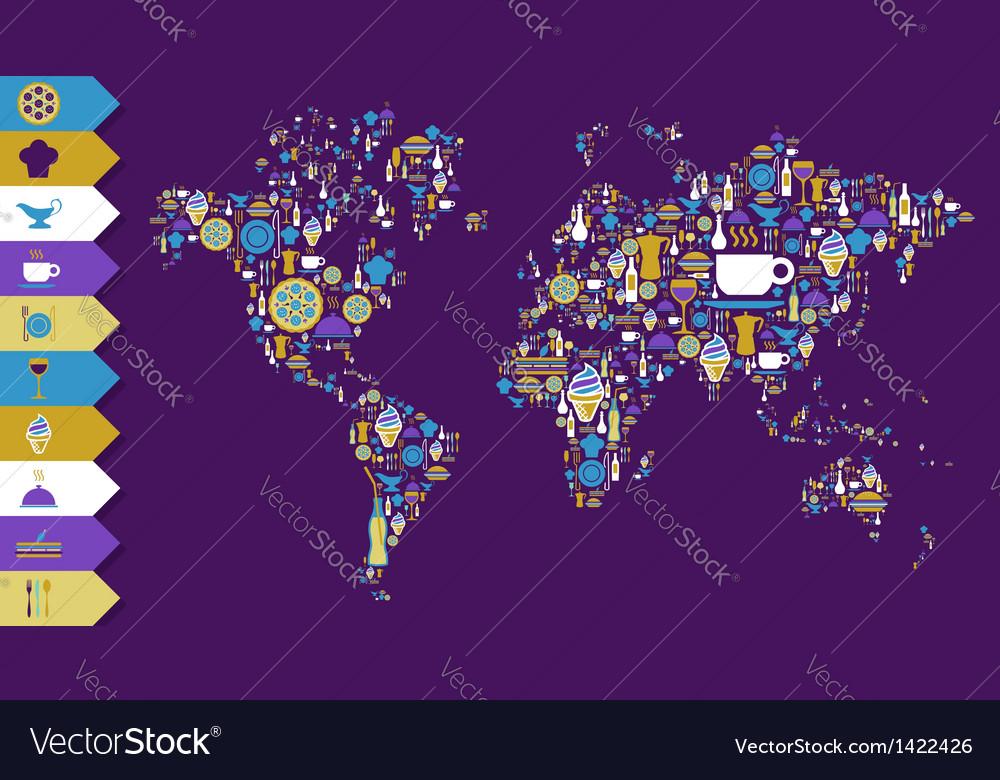 Food icon globe map vector | Price: 1 Credit (USD $1)