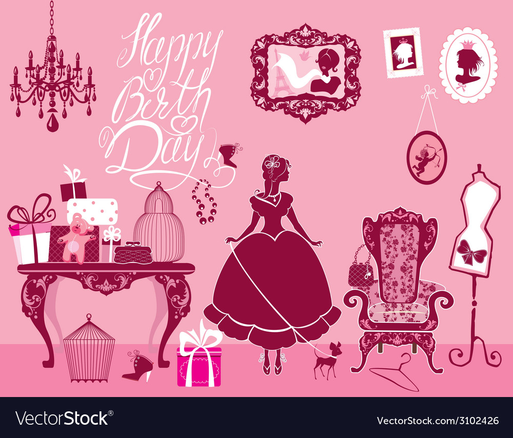 Girl room birthday 380 vector | Price: 1 Credit (USD $1)