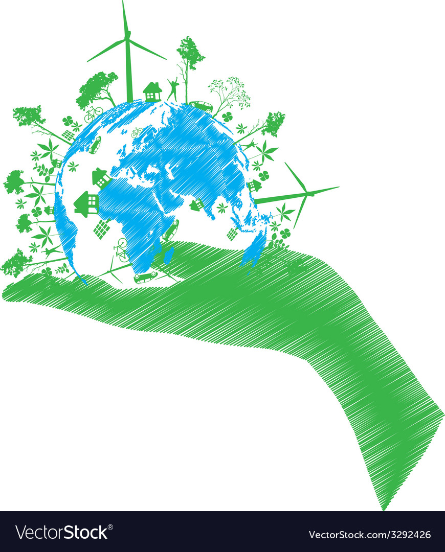 Green eco world isolated on white vector | Price: 1 Credit (USD $1)