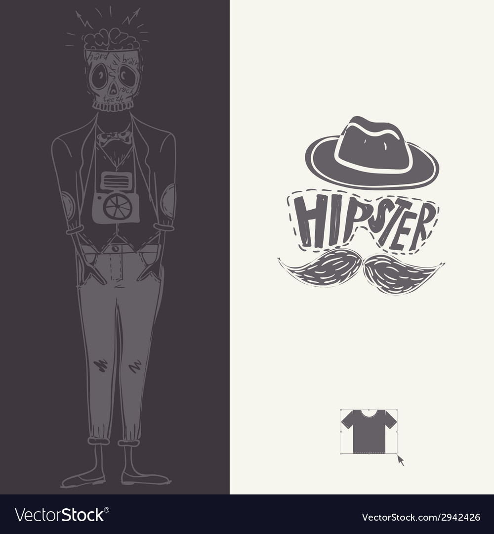 Hipster background in retro style vector   Price: 1 Credit (USD $1)