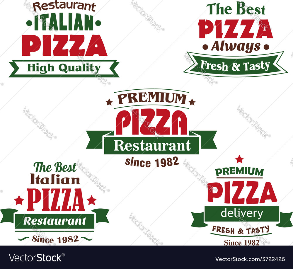 Italian pizza restaurant logo design elements vector | Price: 1 Credit (USD $1)