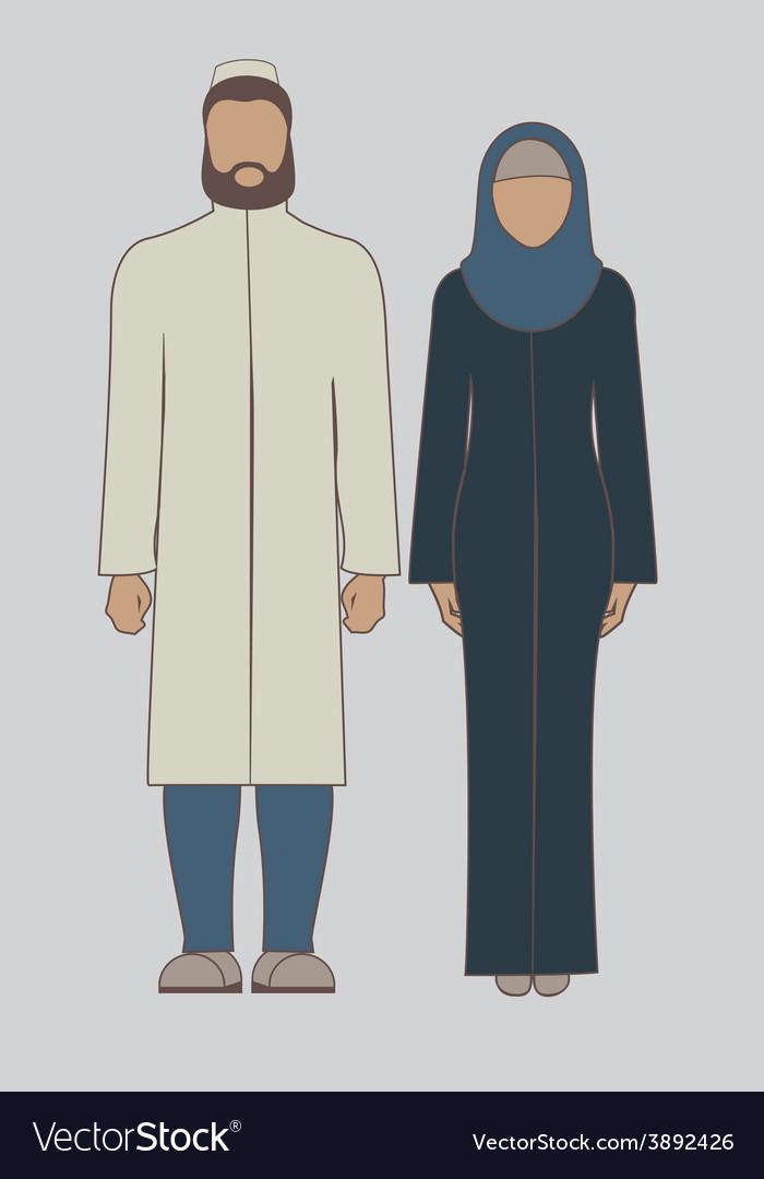 Muslim couple vector   Price: 1 Credit (USD $1)