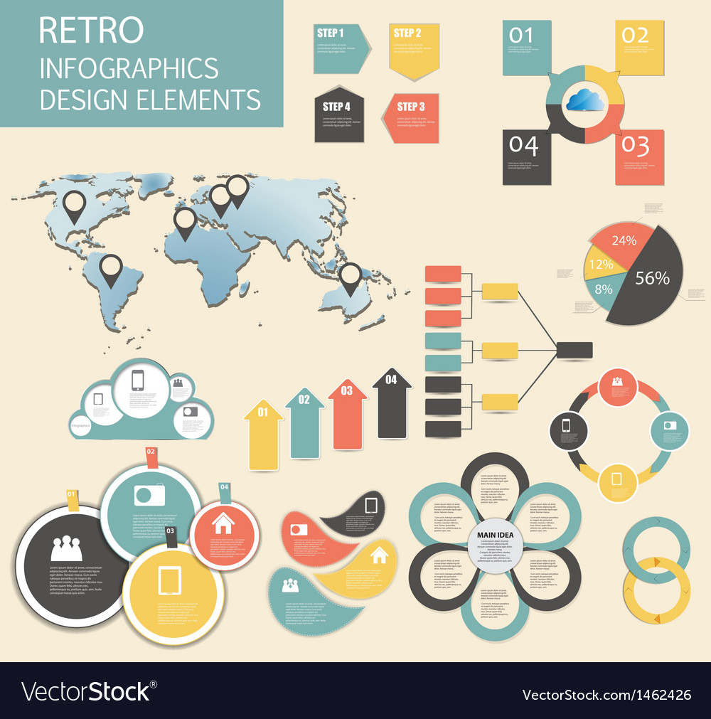 Retro vintage infographic template business vector | Price: 1 Credit (USD $1)