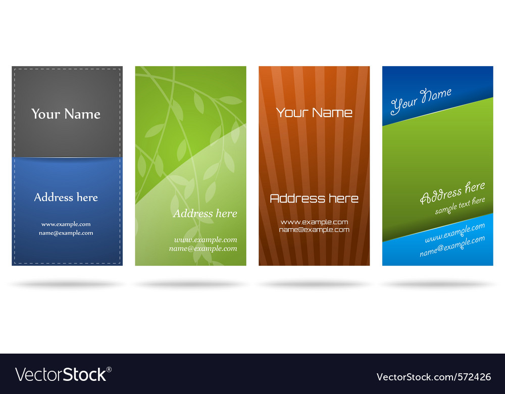 Set of four vertical business cards vector | Price: 1 Credit (USD $1)