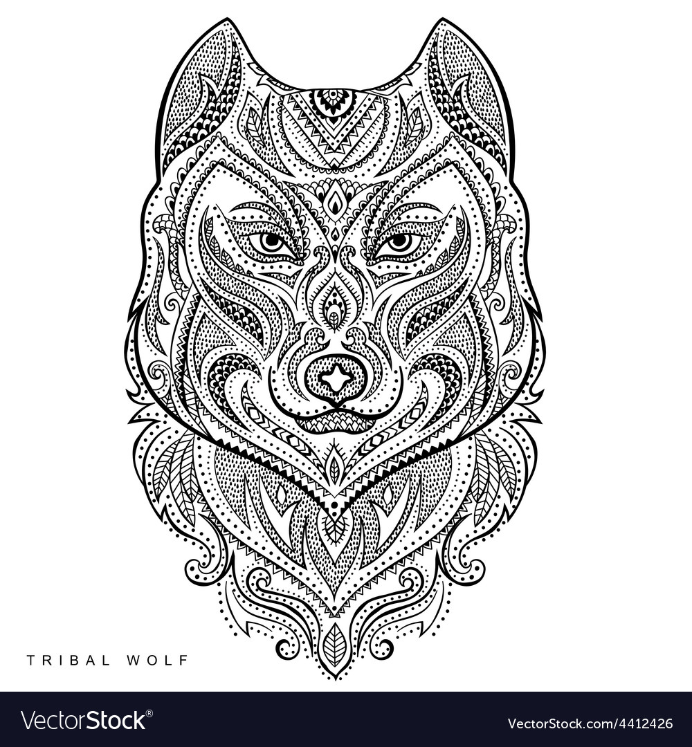 Tribal style wolf totem tattoo vector | Price: 3 Credit (USD $3)
