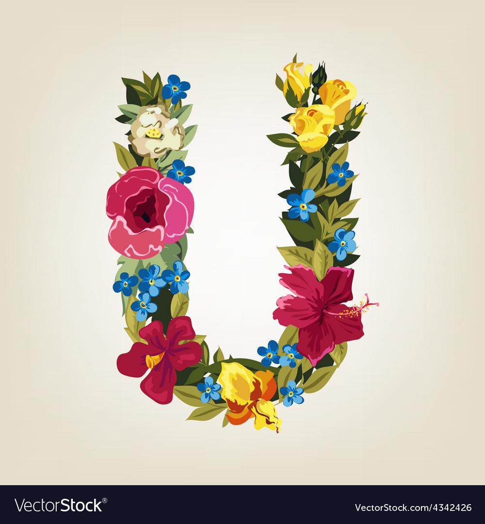 U letter flower capital alphabet colorful font vector | Price: 1 Credit (USD $1)
