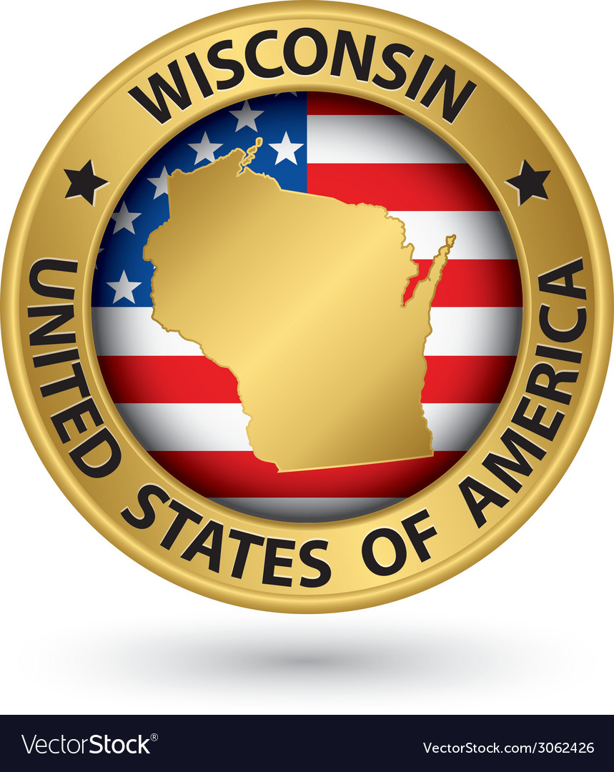 Wisconsin state gold label with state map vector | Price: 1 Credit (USD $1)