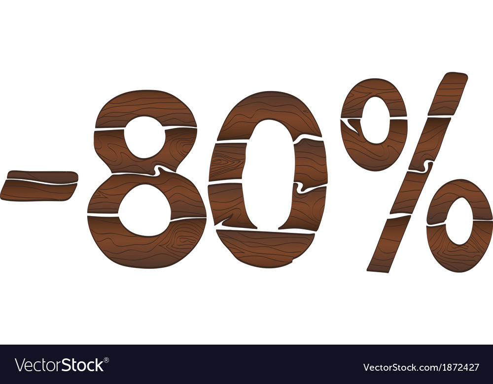 80 wood percentage icon - isolated on the white vector | Price: 1 Credit (USD $1)