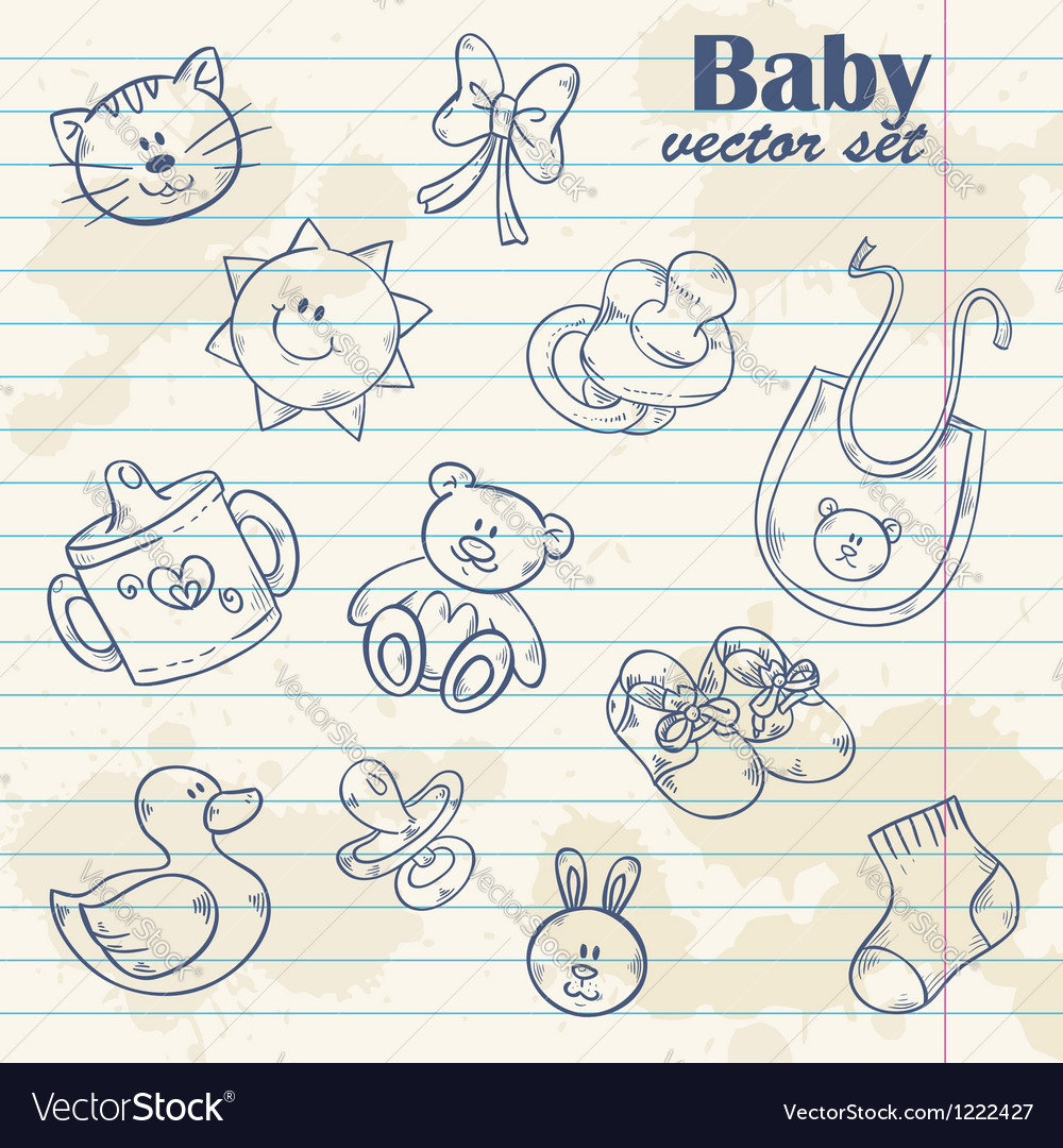 Baby toys cute cartoon set on notepaper vector | Price: 1 Credit (USD $1)