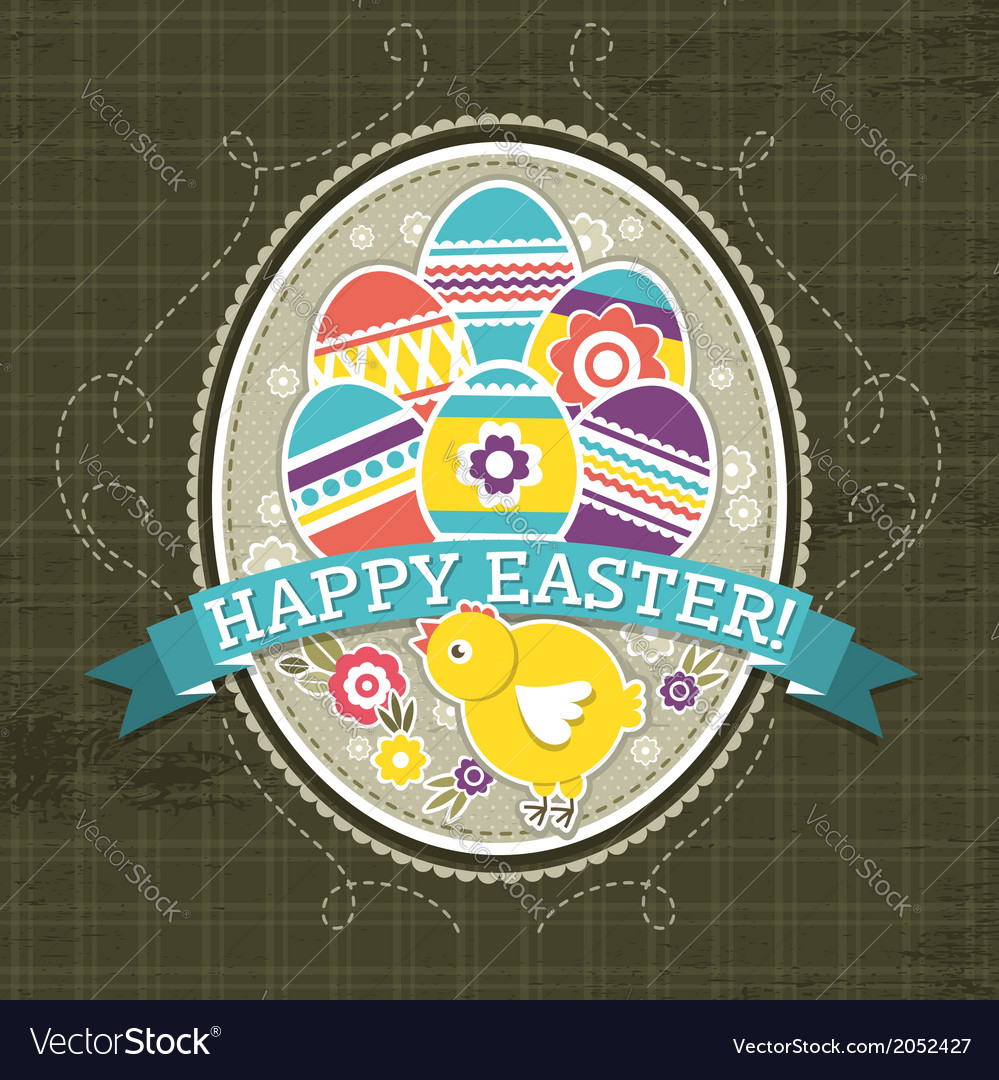 Background with easter eggs and one chick vector | Price: 1 Credit (USD $1)