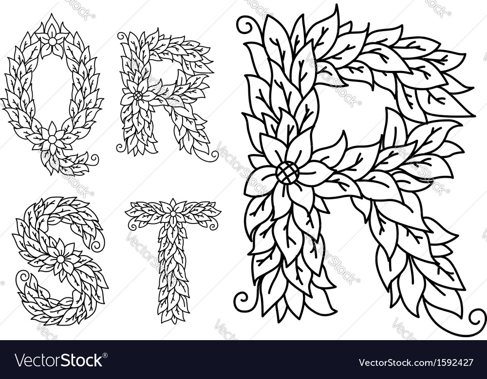 Capital letters q r s t with floral elements vector | Price: 1 Credit (USD $1)