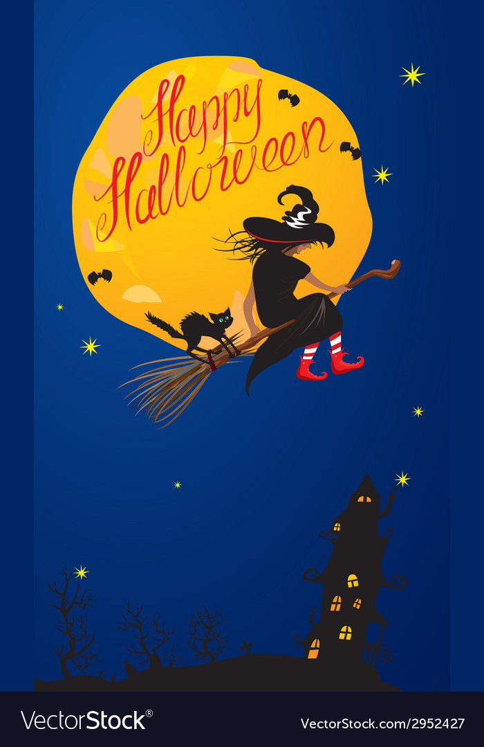 Card of halloween night - witch and black cat vector | Price: 1 Credit (USD $1)