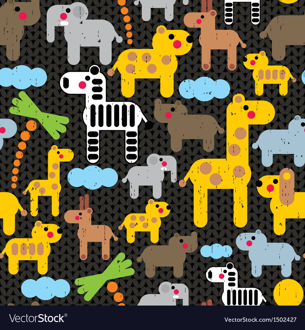Cute african animals seamless pattern vector | Price: 3 Credit (USD $3)