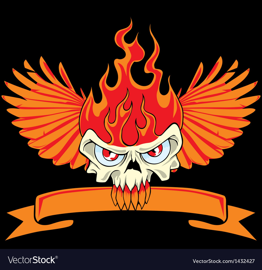 Fire skull and wing vector | Price: 1 Credit (USD $1)