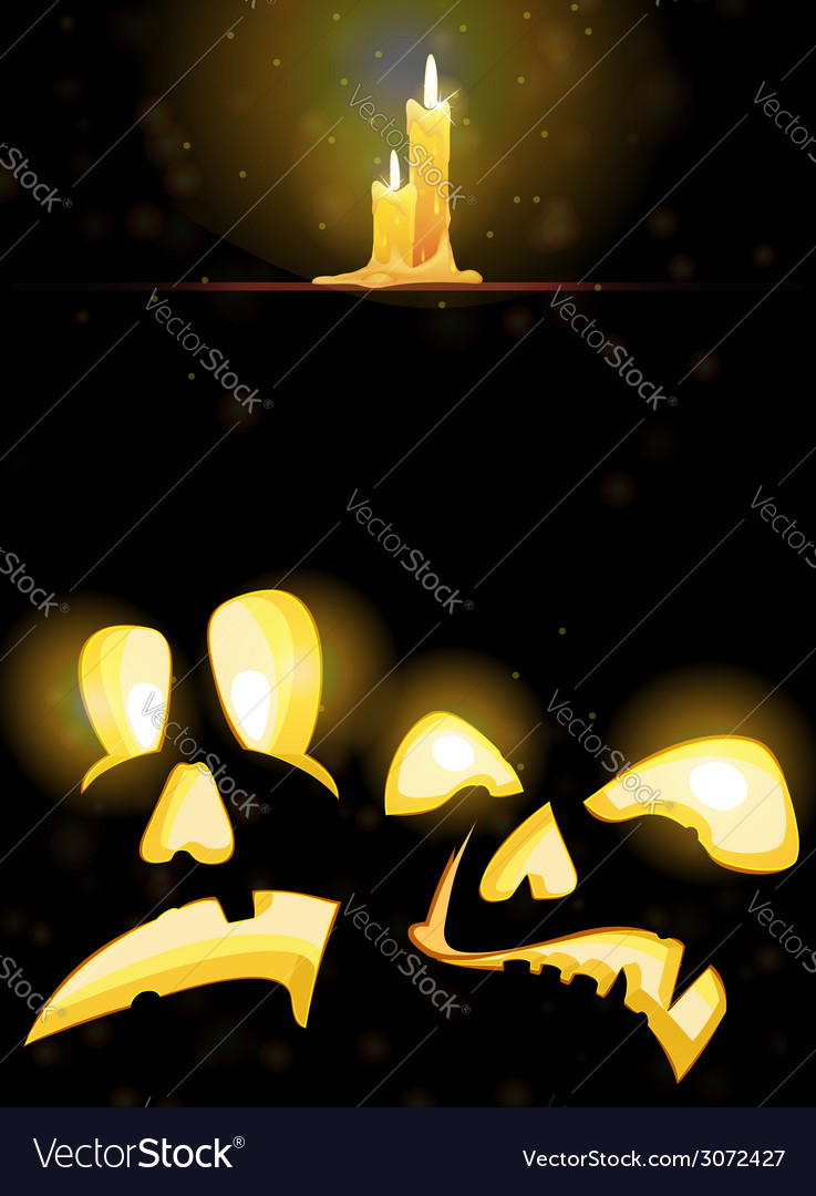 Horrible jack o lanterns and burning candles vector | Price: 1 Credit (USD $1)
